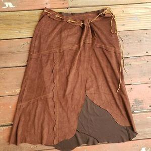Vintage bebe faux suede brown tie skirt